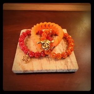 Set of 3 Rustic Cuff Orange Bracelets